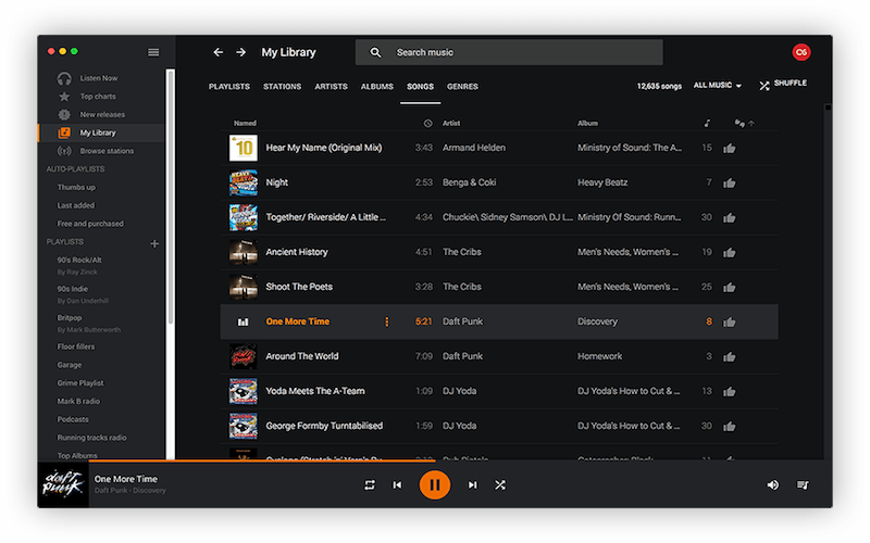 Radiant Player for Google Music on macOS
