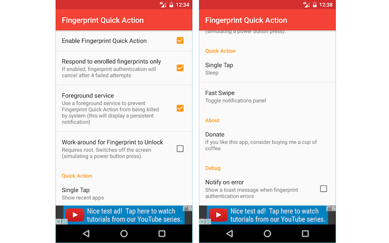 Fingerprint Quick Action for Android